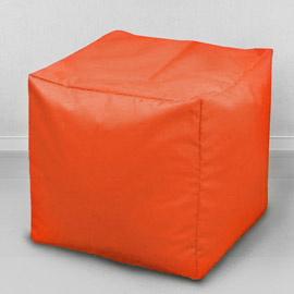 Пуфик бескаркасный Кубик Апельсин, оксфорд