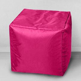 Пуфик бескаркасный Кубик Фуксия, оксфорд