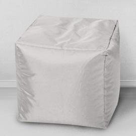 Пуфик бескаркасный Кубик Серебристо-серый, оксфорд