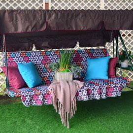 Матрас с 2-мя подушками на садовые качели Тилбург, мебельный хлопок