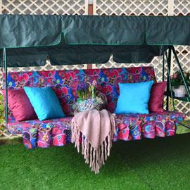 Матрас с 2-мя подушками на садовые качели Сказки Востока, мебельный хлопок