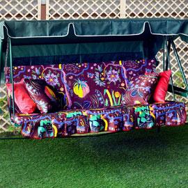 Матрас с 2-мя подушками на садовые качели Дерево жизни, мебельный хлопок