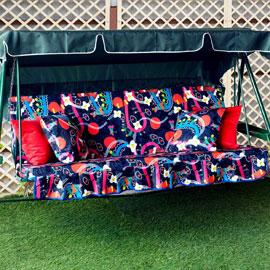Матрас с 2-мя подушками на садовые качели История цветов, мебельный хлопок