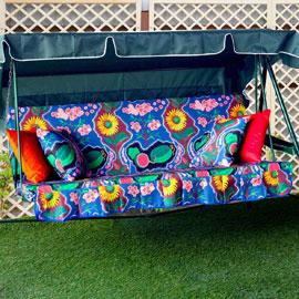 Матрас с 2-мя подушками на садовые качели Два континента, мебельный хлопок