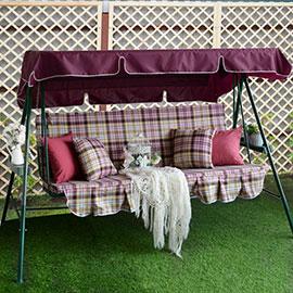 Матрас с 2-мя подушками на садовые качели Клетка, поликоттон