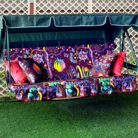 Чехол на матрас с 2-мя наволочками для садовых качелей Дерево жизни, мебельный хлопок