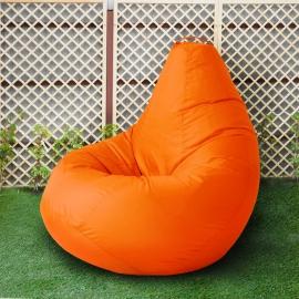 Кресло бескаркасное Груша Оранжевый, размер Комфорт, оксфорд