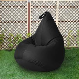 Кресло бескаркасное Груша Черный, размер Компакт, оксфорд