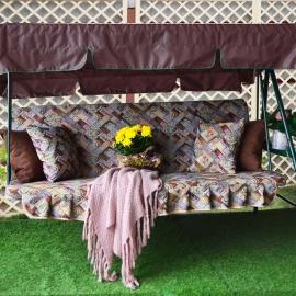 Матрас с 2-мя подушками на садовые качели Абстракция, гобелен