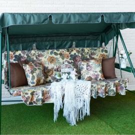 Матрас с 2-мя подушками на садовые качели Цветение, поликоттон