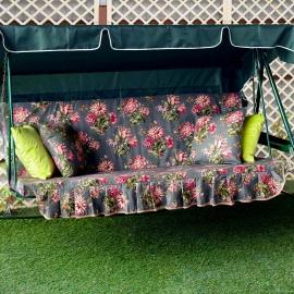 Матрас с 2-мя подушками на садовые качели Причудливые букеты, поликоттон
