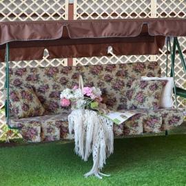 Матрас  с 2-мя подушками на садовые качели Розы