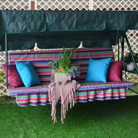 Матрас  с 2-мя подушками на садовые качели Карнавал