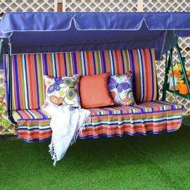 Матрас  с 2-мя подушками на садовые качели Лето