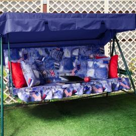 Матрас с 2-мя подушками на садовые качели Джинса, поликоттон