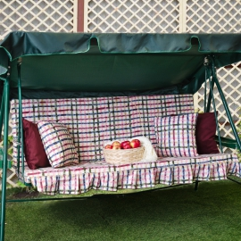 Матрас с 2-мя подушками на садовые качели Яркая клетка, поликоттон